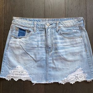 American Eagle Mini Jean Skirt with Crochet Pocket